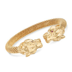Italian 14kt Yellow Gold Double Panther Head Cuff Bracelet, , default