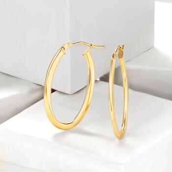 """Italian 14kt Yellow Gold Oval Hoop Earrings. 1 1/8"""""""