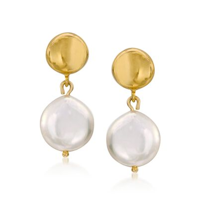 9-10mm Cultured Coin Pearl Drop Earrings in 14kt Yellow Gold, , default