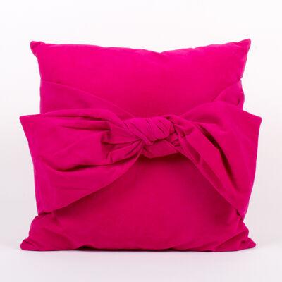 Set of 2 Magenta Velvet Bow Throw Pillows, , default