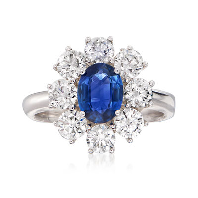 2.00 ct. t.w. Diamond and 1.50 Carat Sapphire Ring in 18kt White Gold