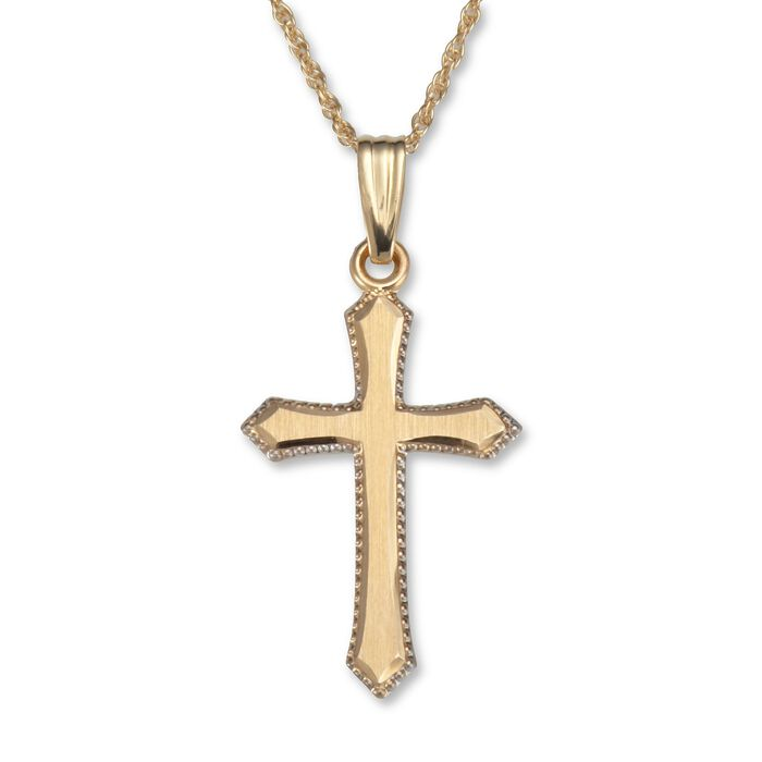 "14kt Yellow Gold Engraved Edge Cross Pendant Necklace. 18"", , default"