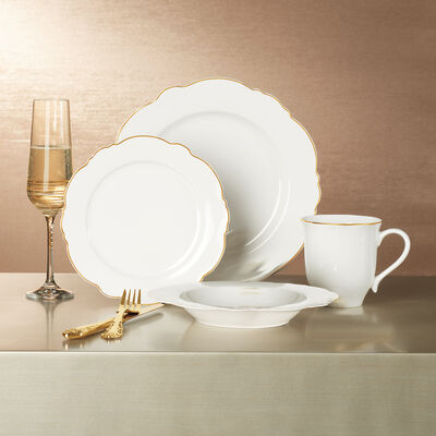 """Bristol"" Gold Scallop Bone China Dinnerware, , default"