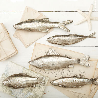 """Silver Stream"" Set of Five Decorative Fish, , default"