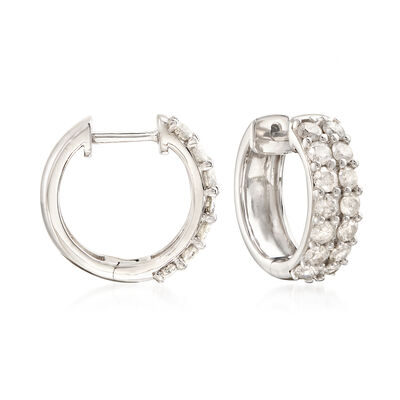 1.00 ct. t.w. Diamond Huggie Hoop Earrings in Sterling Silver, , default