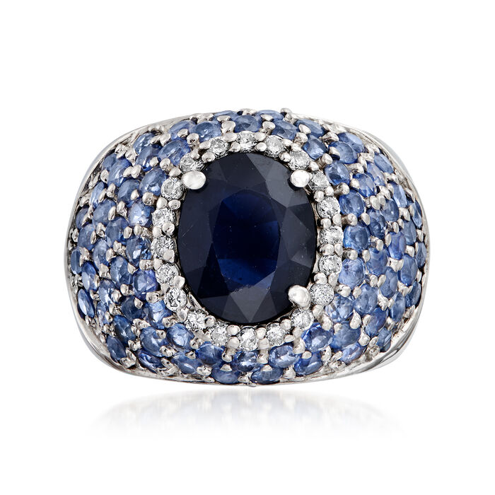 C. 1980 Vintage 6.25 ct. t.w. Sapphire and .30 ct. t.w. Diamond Dome Ring in 14kt White Gold. Size 6