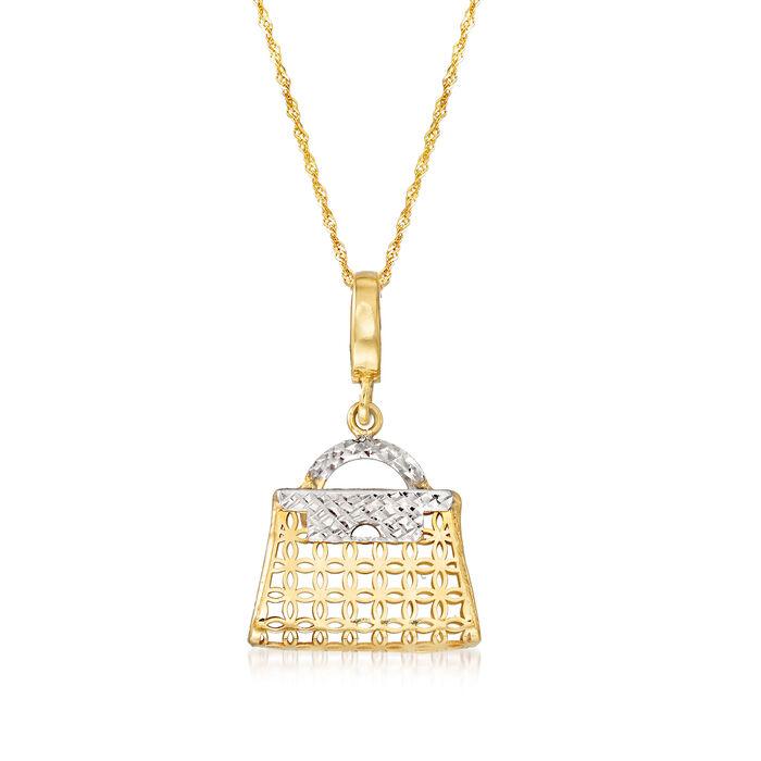 Italian 14kt Two-Tone Gold Purse Pendant Necklace