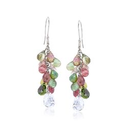 25.00 ct. t.w. Multicolored Tourmaline and 4.00 ct. t.w. Rock Crystal Drop Earrings in Sterling Silver , , default