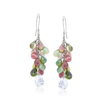 25.00 ct. t.w. Multicolored Tourmaline and 4.00 ct. t.w. Rock Crystal Drop Earrings in Sterling Silver, , default