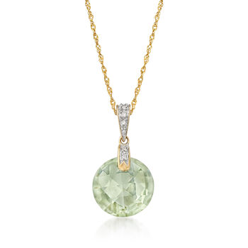 """5.55 Carat Amethyst Pendant Necklace With Diamonds in 14kt Yellow Gold. 18"""", , default"""