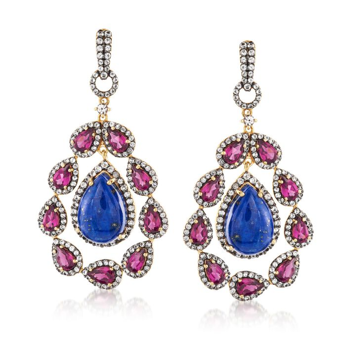 Lapis and 6.99 ct. t.w. Multi-Stone Drop Earrings in 18kt Gold Over Sterling Silver, , default