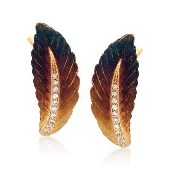 Simon G. .14 ct. t.w. Diamond Leaf Earrings in 18kt Yellow Gold, , default