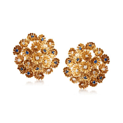 C. 1960 Vintage .50 ct. t.w. Diamond and 1.00 Synthetic Sapphire Floral Clip-On Earrings in 18kt Yellow Gold, , default