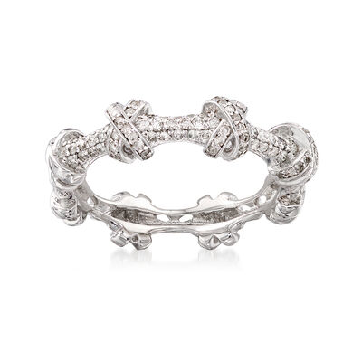 .33 ct. t.w. Diamond X Station Ring in 14kt White Gold, , default