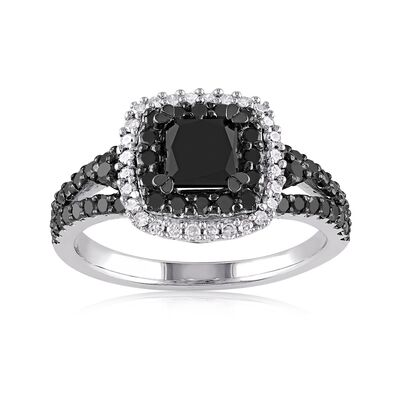1.50 ct. t.w. Black and White Diamond Ring in Sterling Silver, , default