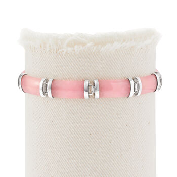 "Pink Jade ""Good Fortune"" Bracelet in Sterling Silver"