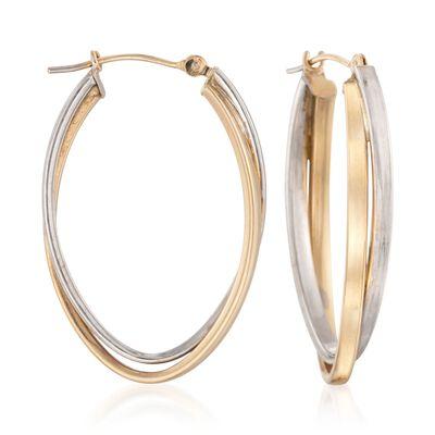 14kt Two-Tone Double Hoop Earrings, , default