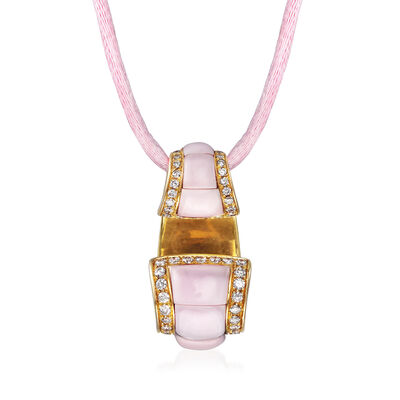 C. 1990 Vintage Pink Opal and .44 ct. t.w. Diamond Pendant Necklace in 18kt Yellow Gold, , default