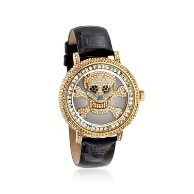 Saint James Women's 46mm Black and White Crystal Skull Watch with Black Leather in Goldtone