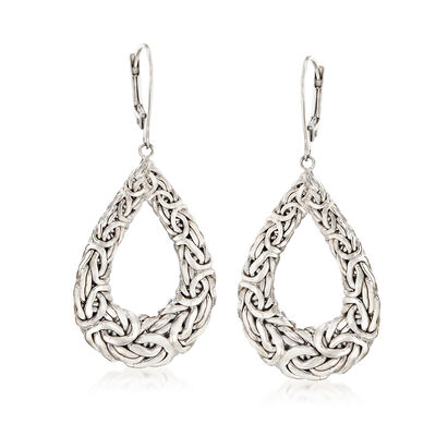 Sterling Silver Byzantine Open Teardrop Earrings, , default