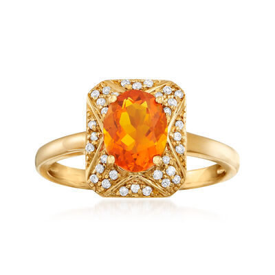 Fire Opal and .12 ct. t.w. Diamond Frame Ring in 14kt Yellow Gold, , default