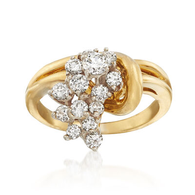 C. 1980 Vintage 1.00 ct. t.w. Diamond Cluster Ring in 18kt Yellow Gold, , default