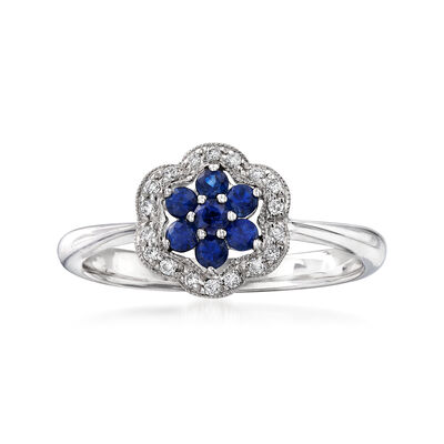 C. 2000 Vintage .30 ct. t.w. Sapphire and .10 ct. t.w. Diamond Flower Ring in 14kt White Gold, , default
