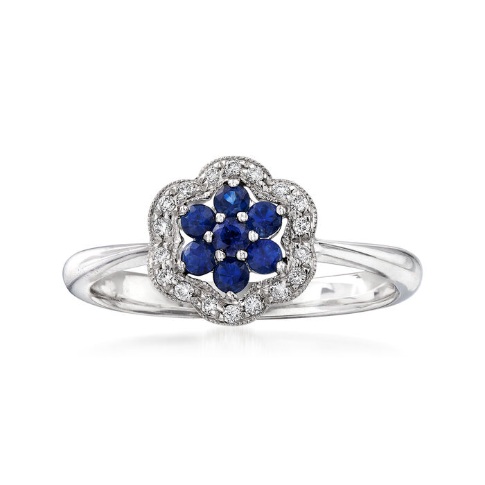 C. 2000 Vintage .30 ct. t.w. Sapphire and .10 ct. t.w. Diamond Flower Ring in 14kt White Gold. Size 7, , default