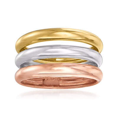 Italian 14kt Tri-Colored Gold Jewelry Set: Set of Three Stackable Rings