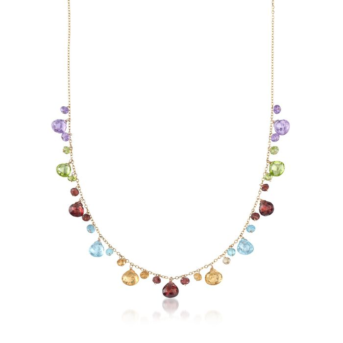"""20.50 ct. t.w. Mutli-Stone Bead Station Necklace in 14kt Yellow Gold. 16"""", , default"""