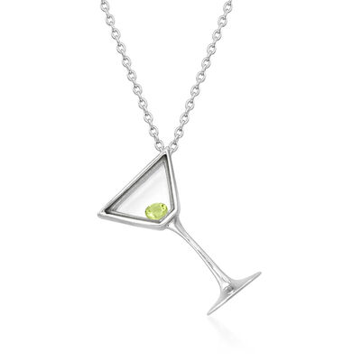 .10 Carat Peridot Martini Glass Pendant Necklace in Sterling Silver
