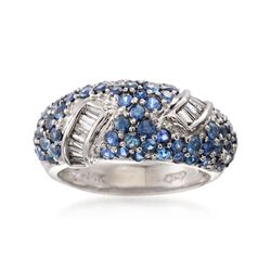 C. 2000 Vintage 2.00 ct. t.w. Sapphire and .30 ct. t.w. Diamond Ring in 14kt White Gold. Size 6, , default