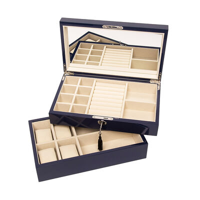 Brouk & Co. Navy Stackable Wooden Jewelry Box and Watch Tray, , default