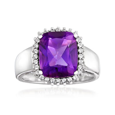 3.60 Carat Amethyst and .20 ct. t.w. White Topaz Ring in Sterling Silver