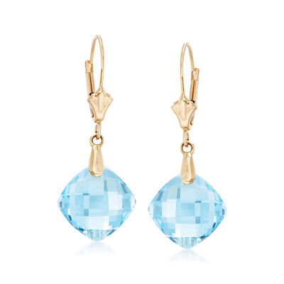 9.75 ct. t.w. Blue Topaz Earrings in 14kt Yellow Gold, , default
