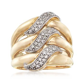 .20 ct. t.w. Pave Diamond Triple-Row Ring in 14kt Two-Tone Gold, , default