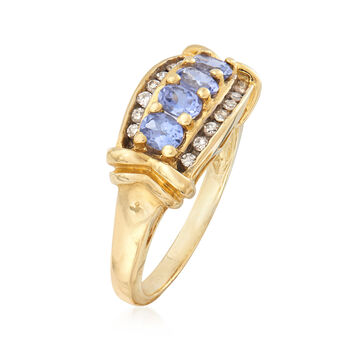 C. 1990 Vintage .75 ct. t.w. Tanzanite Ring With .20 ct. t.w. Diamonds in 14kt Yellow Gold. Size 7, , default