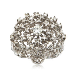 C. 1970 Vintage 1.05 ct. t.w. Diamond Cluster Ring in 18kt White Gold, , default