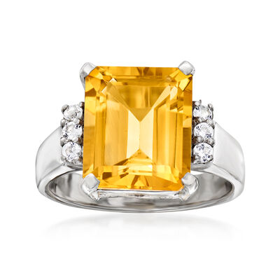 5.30 Carat Citrine and .20 ct. t.w. White Topaz Ring in Sterling Silver