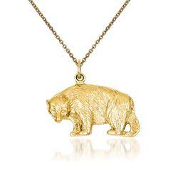 "14kt Yellow Gold Bear Pendant Necklace. 18"", , default"