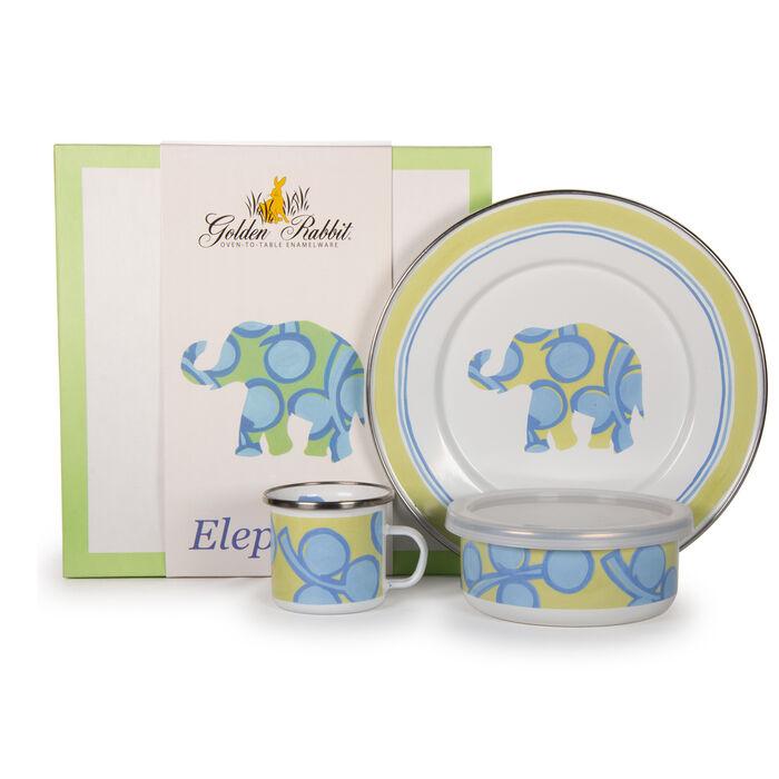 """Golden Rabbit """"Elephant"""" 3-pc. Child's Dinnerware Gift Set"""