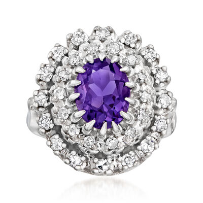 C. 1970 Vintage 1.60 Carat Amethyst and .65 ct. t.w. Diamond Ring in 14kt White Gold, , default