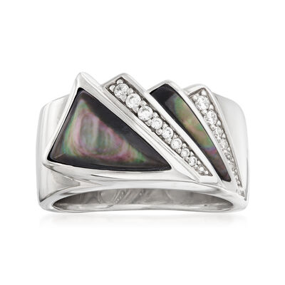 "Belle Etoile ""Empire"" Black Mother-Of-Pearl and .16 ct. t.w. CZ Ring in Sterling Silver, , default"
