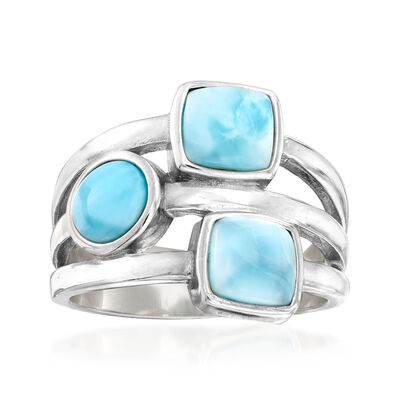 Larimar Square and Round Triple-Band Ring in Sterling Silver