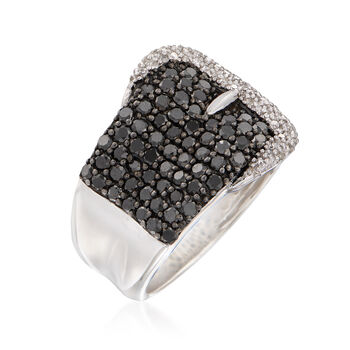 2.00 ct. t.w. Black and White Diamond Buckle Ring in Sterling Silver