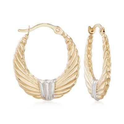 14kt Two-Tone Gold Ribbed Hoop Earrings, , default