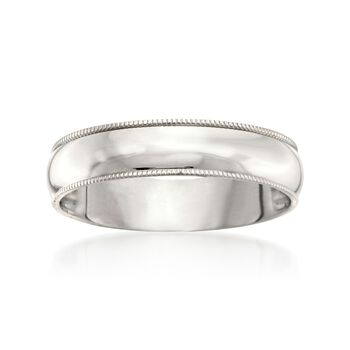 Men's 5mm 14kt White Gold Milgrain Wedding Ring, , default
