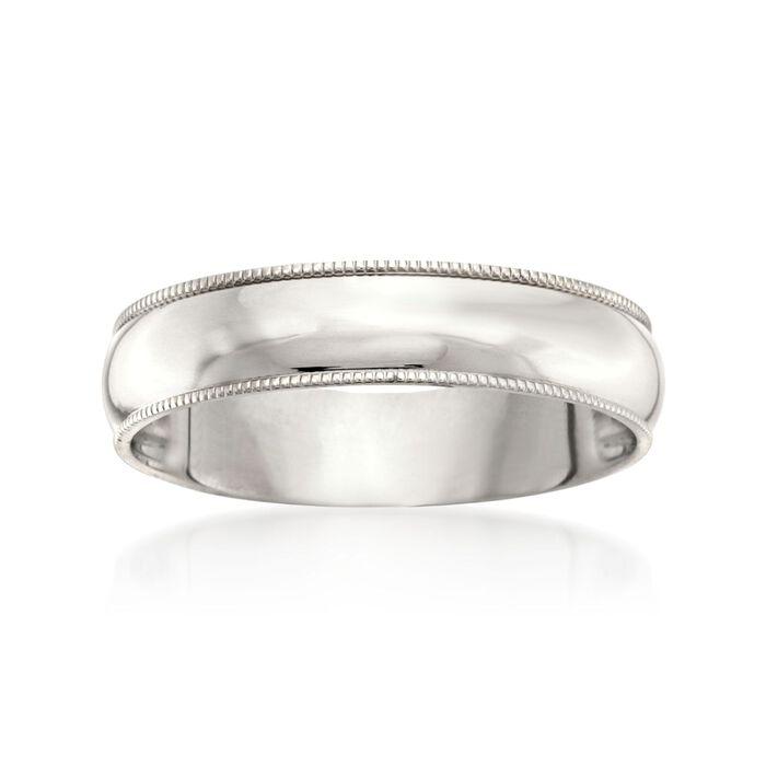 Men's 5mm 14kt White Gold Milgrain Wedding Ring, , default