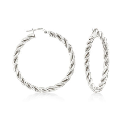 Italian Sterling Silver Medium Twisted Hoop Earrings