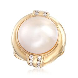 C. 1980 Vintage 14.5mm Mabe Pearl and .20 ct. t.w. Diamond Ring in 14kt Gold. Size 6, , default